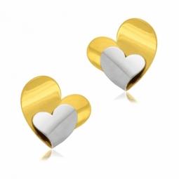 Boucles d'oreilles en or jaune rhodié, coeur