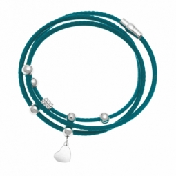 Bracelet en acier, cordon bleu et strass