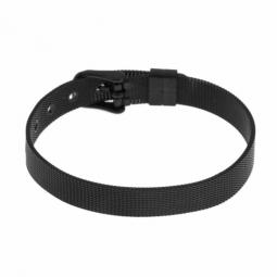 Bracelet en acier noir, maille milanaise