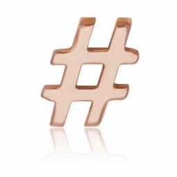 Charm en acier rose, hashtag