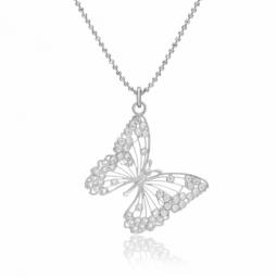 Collier en argent rhodié et oxydes de zirconium, papillon