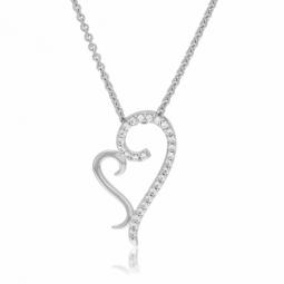 Collier en argent rhodié et oxydes de zirconium, coeur
