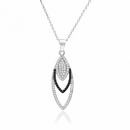 Collier en argent rhodié, oxydes de zirconium noirs et blancs