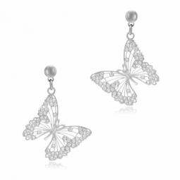 Boucles d'oreilles en argent rhodié et oxydes de zirconium, papillon