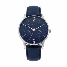 Montre homme, boîte acier, bracelet cuir bleu et verre minéral
