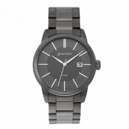 Montre homme, boîte acier gris, bracelet acier gris et verre minéral.