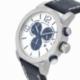 Chronographe homme, boîte acier et bracelet cuir, verre minéral - B