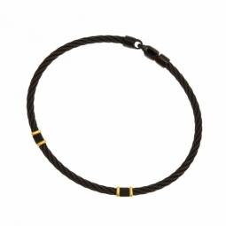Bracelet jonc en or jaune et acier