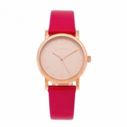 Montre dame, boîte en acier rose, bracelet cuir et verre minéral