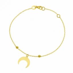 Bracelet en or jaune et boules or, lune