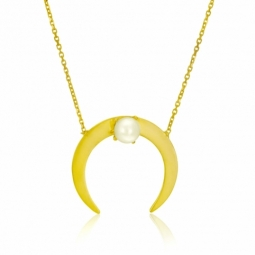 Collier en or jaune, perle de culture