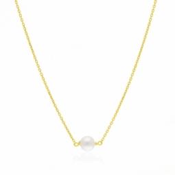 Collier en or jaune, perles de culture, bijou de dos