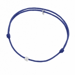 Bracelet cordon bleu en or gris serti de Swarovski Zirconia