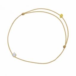 Bracelet cordon doré en or jaune, oxyde de zirconium