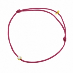 Bracelet cordon fuchsia en or jaune, oxyde de zirconium