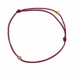 Bracelet cordon bordeaux en or jaune serti de Swarovski Zirconia