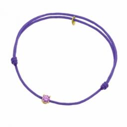 Bracelet cordon violet en or jaune serti de Swarovski Zirconia