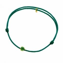 Bracelet cordon vert foncé en or jaune, oxyde de zirconium
