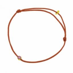 Bracelet cordon rouge en or jaune, oxyde de zirconium