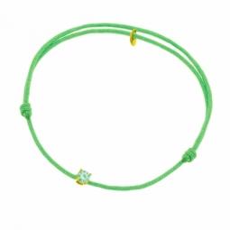 Bracelet cordon vert clair en or jaune, oxyde de zirconium