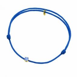 Bracelet cordon bleu marine en or jaune serti de Swarovski Zirconia