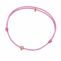 Bracelet cordon rose en or jaune serti de Swarovski Zirconia