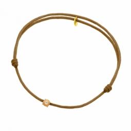 Bracelet cordon jaune en or jaune, oxyde de zirconium