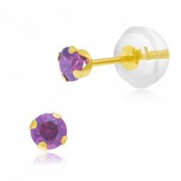 Boucles d'oreilles en or jaune serties de Swarovski Zirconia violet