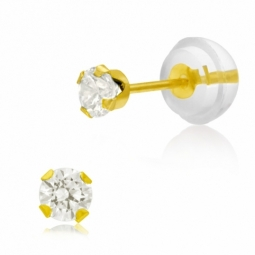Boucles d'oreilles en or jaune serties de Swarovski Zirconia blanc