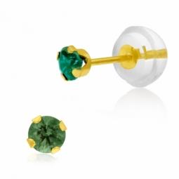 Boucles d'oreilles en or jaune serties de Swarovski Zirconia vert