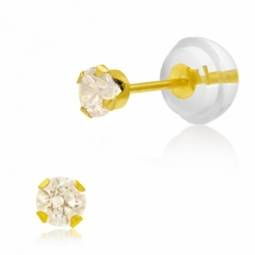 Boucles d'oreilles en or jaune serties de Swarovski Zirconia champagne