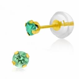 Boucles d'oreilles  en or jaune serties de Swarovski Zirconia vert clair