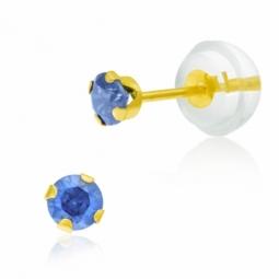 Boucles d'oreilles en or jaune serties de Swarovski Zirconia bleu