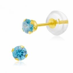 Boucles d'oreilles en or jaune serties de Swarovski Zirconia bleu glacial