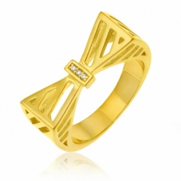 Bague en argent doré et oxydes de zirconium