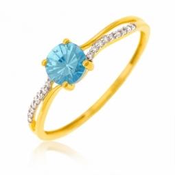 Bague or jaune rhodié et oxydes de zirconium bleu et blancs