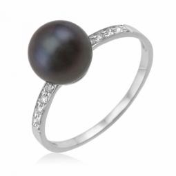 Bague en or gris, perle de culture de Tahiti et diamants
