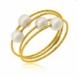 Bague cable  en or jaune et titane, perles de culture
