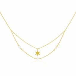 Collier en or jaune et perles de culture, étoile