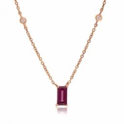 Collier en or rose, rhodolite et diamants