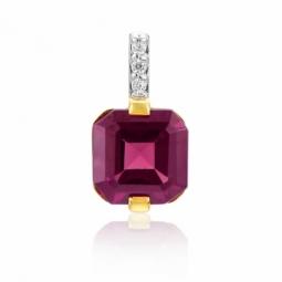 Pendentif en or jaune rhodié , grenat et diamants