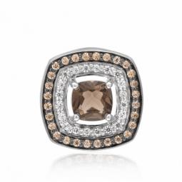 Pendentif en or gris rhodié, quartz fumé, diamants blancs et diamants bruns