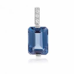 Pendentif or gris, cristaux de synthèse bleus et blancs