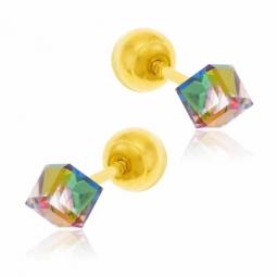 Boucles d'oreilles en or jaune, cristal de synthèse fermoir boule or à vis