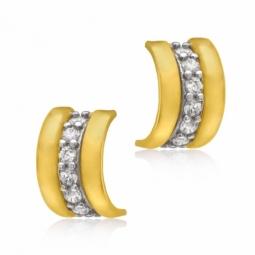 Boucles d'oreilles en 2 ors et oxydes de zirconium