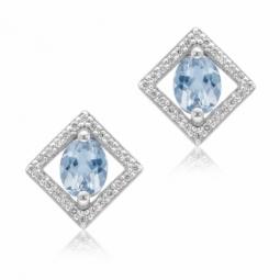 Boucles d'oreilles en or gris, aigue marine et diamants
