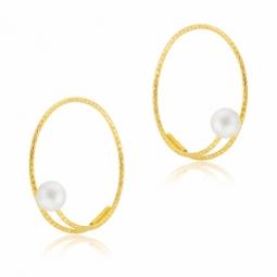 Boucles d'oreilles cable et titane, perle de culture