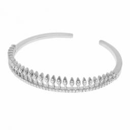 Bracelet jonc, articulé, en argent rhodié, oxydes de zirconium
