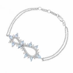 Bracelet en argent rhodié, oxydes de zirconium blancs et bleus