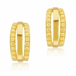 Boucles d'oreilles en argent doré, oxydes de zirconium